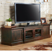 Walnut Finish Entertainment Center TV Stand With Cabinet Storage And Glass Doors