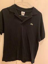 Men's Lacoste Regular Fit Short-Sleeve Polo Shirt Solid Black Size 5 Large
