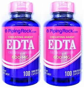 2 Bottles 600mg EDTA Calcium Disodium 100/200 Capsules Chelating Agent