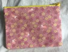 Japonais Lapin Lapin Tissu zippée porte-monnaie Make Up sac fait main rose