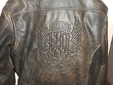 Vintage Men's Harley Davidson Embossed Gothic Brown Leather Bomber Jacket  Large