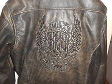 Vintage XL Men's Harley Davidson Embossed Gothic Brown Leather Bomber Jacket