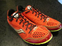 Saucony endorphin Ld, track spike shoes, Women's US size 11, red & bright yellow
