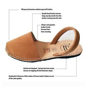 Avarca Sandals light Tan Nubuck leather , Original Handmade in Menorca