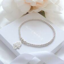 bracelet, dainty beaded stacking jewellery Sterling silver hand of hamsa charm
