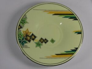 Aynsley Green with Silver Rim Deco Saucer c1934-39 B4057