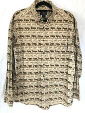 Men's Vintage Woolrich Moose All Over Print Button Front Shirt Sz Xl Long Sleeve