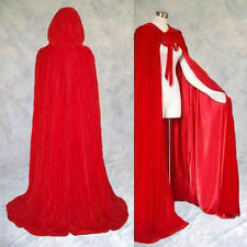 "RED Velvet Cloak Lined RED Satin Cape Men Women Hooded Victorian Medieval 62"" XL"