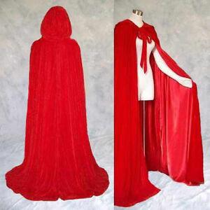 "RED Velvet Cloak Lined RED Satin Cape Men Women Hooded Victorian Medieval 62"" XL"