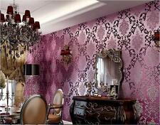10M Luxury Purple Damask Embossed Textured Feature Wallpaper Roll Room TV Decor