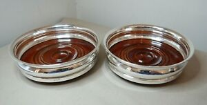 ENGLISH STERLING SILVER & TURNED WOOD WINE COASTERS - A PAIR