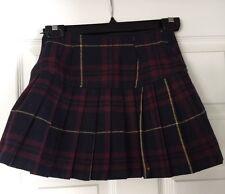 abercrombie Girls Wool Pleated Plaid Skirt Size 12 Navy Maroon