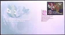 Mexico 2014 FDC NAFTA 20 Anniv Canada USA Flags Butterfly Free Trade America XF