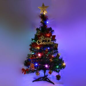 2 FT Tabletop Artificial Small Mini Christmas Tree with LED Light & Ornaments