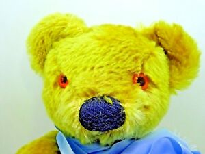 """Vintage Merrythought Teddy Bear 17"""" 43cm with Blue Ribbon"""