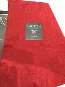 "RALPH LAUREN TABLE COVER - ROUND - 70""  x 178cm - RED DAMASK PAISLEY TABLECLOTH"
