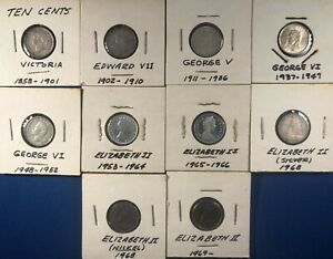 Lot of Canada Dimes (1900-1969) ~ 9 Different Types ~ Some Higher Grade ~ Silver