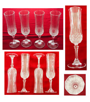 Vintage Cristal d'Arques Durand LONGCHAMP Cut Crystal 4 oz. Glass Flutes 4-PC