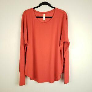 Lucy Women's Long Sleeve Athletic Yoga Shirt Top Orange XL