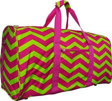 "22"" Women's Chevron Print Gym Dance Cheer Travel Carry On Duffel Bag - Pink/Lime"