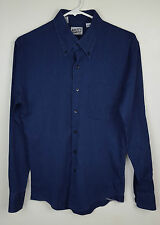 Naked and Famous Slim Fit Indigo Hopsack Weave Selvedge Button Down Shirt Sz S
