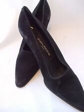 EVAN-PICONE Classic Black Suede Pointed Toe Heels Made in Spain size 8 1/2M