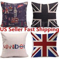 Cotten Linen Union Jack Printed Flag Throw Pillow Case Cushion Cover Home Decor