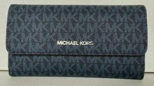 New Michael Kors Jet Set Travel Large Trifold wallet Signature Admiral Silver