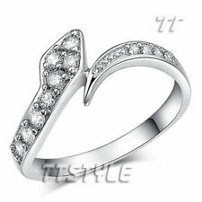 Cubic Zirconia White Gold Plated Band Stone Fashion Rings