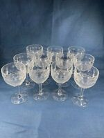 American Brilliant Cut Glass Set LOT Of 11 Wine a236