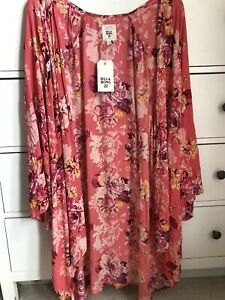 Brand New Billabong Pacific Dunes Coral Pink Kimono with tags