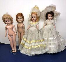 12-10� Vintage 1950's Plastic Dolls 2 Dressed 2 Nude Set Of 4 Dolls