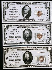 Lot of 4 1929 Pa National Bank Notes Homestead Mount Pleasant Duquesne