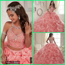 Pink Two Pieces Quinceanera Dresses Beaded Prom Formal Pageant Evening Ball Gown