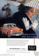 Opel Rekord Reklame von 1959 Werbung Regen Regenschirm Handschuhe Sturm ad