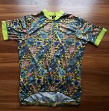 Canari Men's Yellow Coffee AOP Label Print Bike Biking Cycling Jersey USA Size L