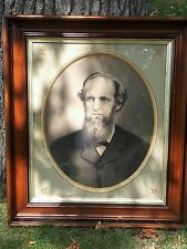 "Antique Large VICTORIAN Eastlake Walnut Picture Frame 27"" by 31"" gilded"