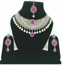 Pakistani Kundan Zircon Silver Plated Pink Necklace Earrings Tikka Jewelry Set