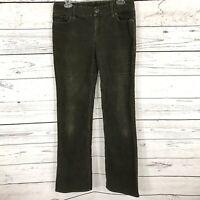 J Crew Womens SZ 6R Favorite Fit Corduroy Pants Green Stretch Low-Rise Bootcut