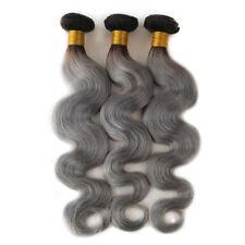 10-30inch Women Grey Remy Hair Weaving Body Wave Human Hair Weft 1 Bundles 100G