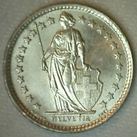 1958 B Switzerland 1/2 Franc BU Coin Silver Half Franc Uncirculated
