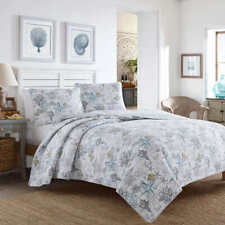 Bed Quilt Set with Shams Cotton Bedroom Bedding Coastal Beach Bliss King 3 Piece