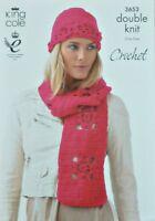 CROCHET PATTERN Ladies Lacy Flower Motif Hat & Scarf DK King Cole 3653