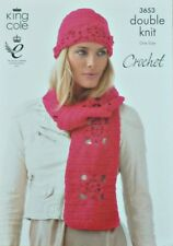 CROCHET PATTERN Ladies Lacy Flower Motif Hat & Scarf DK King Cole 3653