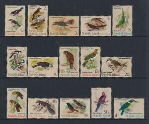 Norfolk Island - 1970, 1c - $1 Birds Complete set - MNH - SG 103/17