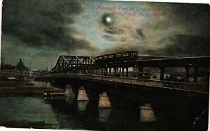 Vintage Postcard - 1906 Moonlight View Charleston Bridge Boston MASS MA  #9383