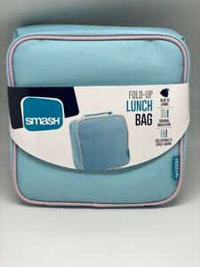 Smash Girls Fold Up Lunch Bag Insulated Lunch Box Baby Blue And Pink Brand New
