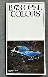 ORIGINAL 1973 OPEL MANTA EXTERIOR COLORS, TRIM & SPECIFICATIONS BROCHURE