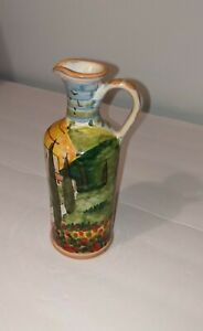 """Dipinto A Mano Olio Aceto Oil Vinegar Floral Hand Painted Italy 7"""""""
