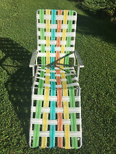 VTG Multi-Colored Aluminum Webbed Folding Chaise Lounge Lawn Chair aluminum arms